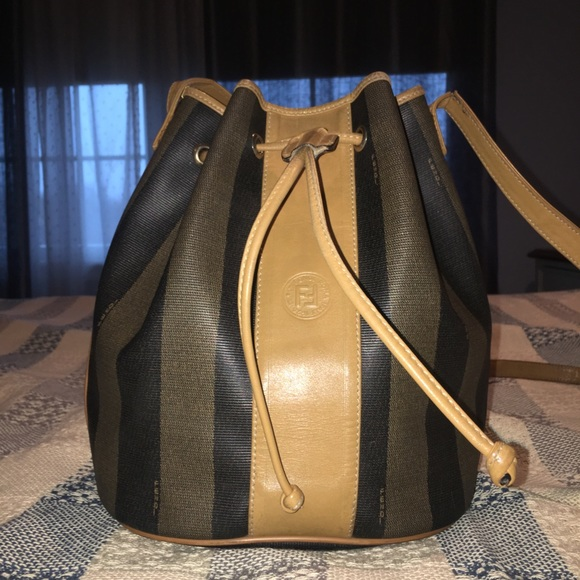 edca99caaaca FENDI Handbags - Fendi Pequin Striped Drawstring Bucket Bag